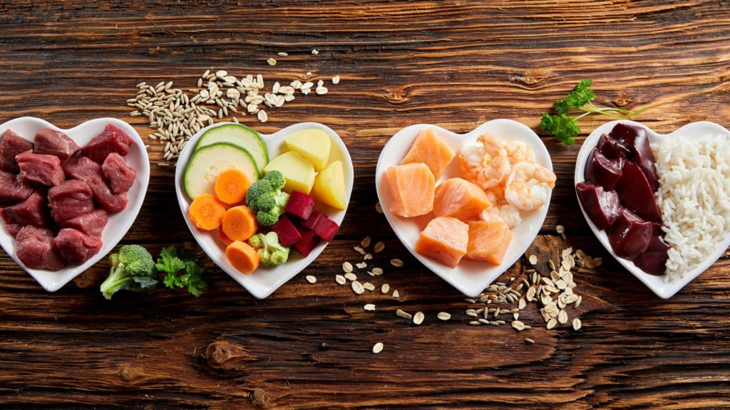 healthy foods in a heart shaped plate